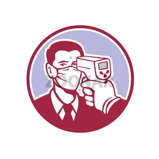 Coronavirus Screening Icon Retro