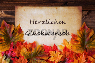 Grungy Old Paper, Colorful Leaves, Glueckwunsch Means Congratulations