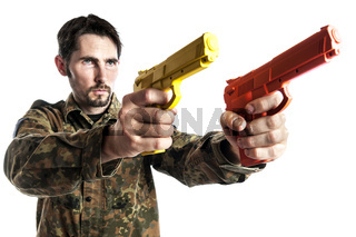 Self defense instructor with training gun