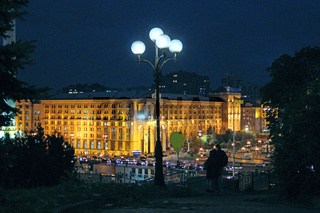 Panorama of Independence Square in Kyiv at night. Lights of night city