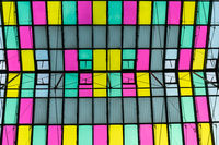 Colorful transparent roof made of glass and steel framing, abstract architecture background