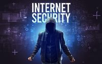 Faceless man with online security concept