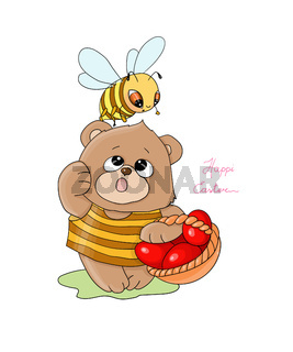vector illustration Happi Easter,little bee with a teddy bear carry a basket with red eggs