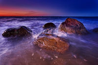 rocky baltic seascape in the evening