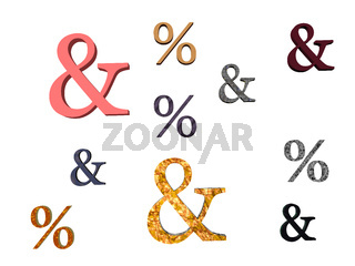 bunte Prozentzeichen und Kaufmännische Zeichen