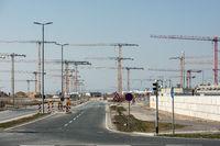 Großbaustelle des Terminal 3 am Flughafen Frankfurt