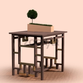 Holztisch im japanischen Stil und Pflanzgefäss mit Bonsaibäumchen und Gras