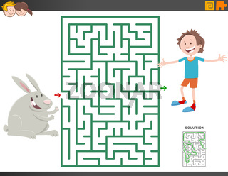maze game with cartoon boy and bunny