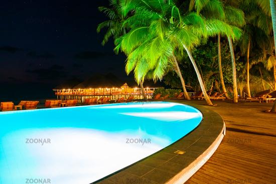 Pool on tropical Maldives island
