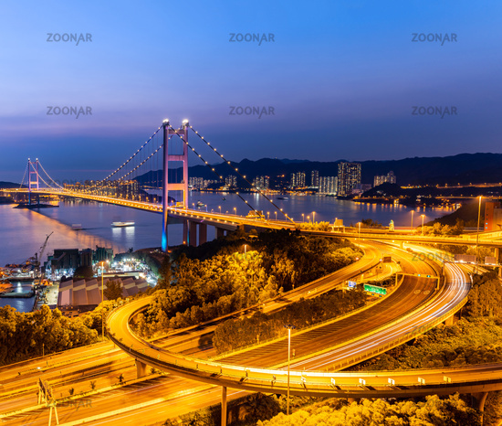 Sunset and light illumination of Tsing ma bridge landmark suspension bridge in Tsing yi area of Hong Kong China.
