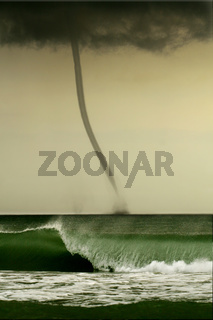 bad weather and storm with the wind on the sea. tornado over the ocean
