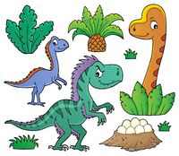 Dinosaurs and prehistoric nature theme set 1