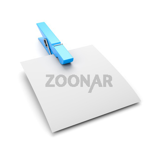 Empty Paper Sheet with Blue Clothespin Isolated on White Background 3D Illustration