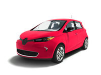 Modern sporty electric car hatchback red for family 3d render on white background with shadow