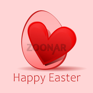 red heart happy easter egg