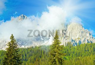 Dolomites mountain summer sunshine view