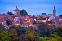 Rothenburg ob der Tauber. Historic town of Rothenburg ob der Tauber evening landmarks view