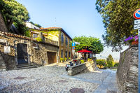 In the old town of Bergamo Lombardy Italy