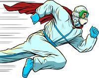 super Hero doctor runs. Covid19 coronavirus epidemic