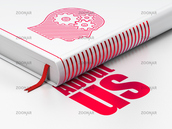 Advertising concept: book Head With Gears, About Us on white background