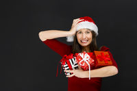Woman holding christmas gifts