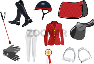 Equipment for the horse jumping - colored set on white background