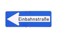 German sign isolated over white. Einbahnstrasse (One Way street)