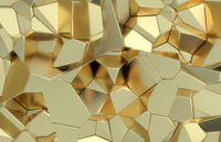 3d render, golden modern shattered wall texture, random clusters digital illustration, abstract geometric background. Wealth and Prosperity reach concept architecture