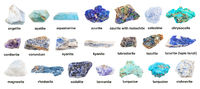 set of various blue unpolished rocks with names