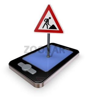 smartphone mit verkehrszeichen baustelle auf dem display - 3d illustration