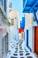 Picturesque street in Mykonos town