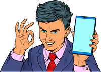 OK gesture Businessman and smartphone. A man with a phone