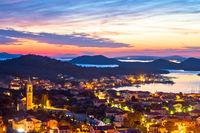 Murter island. Colorful sunset in town of Murter archipelago view, tourist destination in Dalmatia