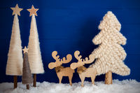 Christmas Tree, Moose, Snow, Blue Background, Copy Space For