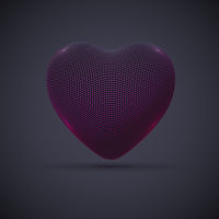 3D digital futuristic pink heart on gray background.