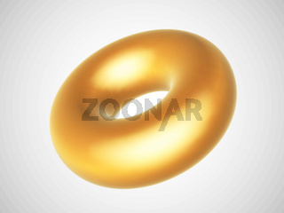 3D golden torus isolated on white background.
