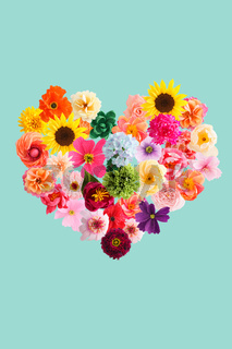 Heart shape made of crepe paper flowers