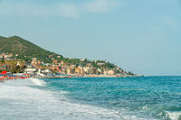 view from the sea of Varazze beach