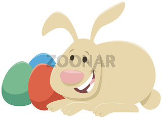 cartoon Easter bunny with painted Easter eggs