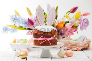 the wonderful Easter composition with a funny Easter cake