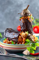 Eggplant stuffed with chicken and vegetables.