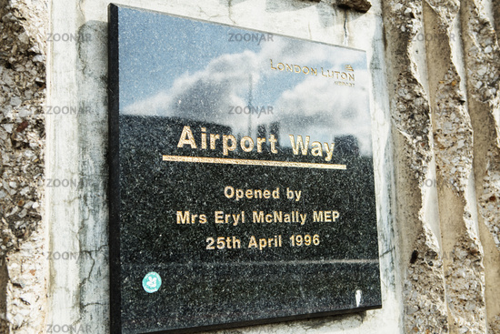 LONDON - AUGUST 18, 2017: marble plaque Airport Way