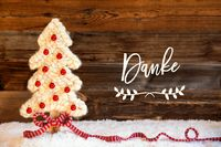 Fabric Christmas Tree, Ball, Snow, Danke Means Thank You