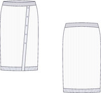 Vector illustration of tricot skirt. Fashion template.