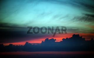 Multicolor sunset sky summer sea