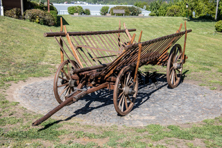 wooden cart with drawbar in agriculture