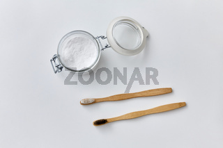 washing soda and wooden toothbrushes