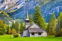 Kandersteg church, sunset mountains, Switzerland