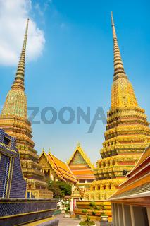 Pagodas of Wat Pho temple in Bangkok, Thailand