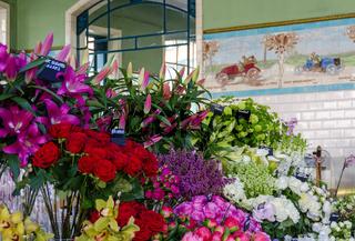 Präsentation von bunten Blumen bei einem Verkaufsstand